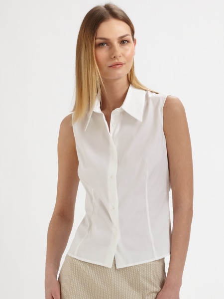 Womens White Sleeveless Blouse